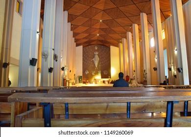 San Juan, Argentina - July 10, 2018: Modern church interior