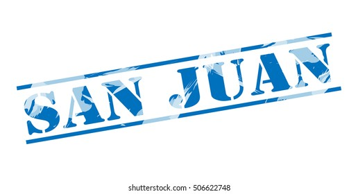 san juan blue stamp on white background
