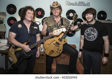 SAN JUAN CAPISTRANO, CA - JULY 5: Ted Nugent, Greg Smith and Jason Hartless perform at The Coach House on July 5, 2016 in San Juan Capistrano, California.