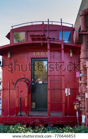 San Juan Capistrano, CA / USA: Jan 19 2013: Red Vintage Train Car