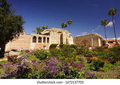 San Juan Capistrano, California USA - March 8, 2020: The old stone church, Mission San Juan Capistrano, collapsed in an earthquake in 1812, killing more than 40 parishioners attending Sunday mass