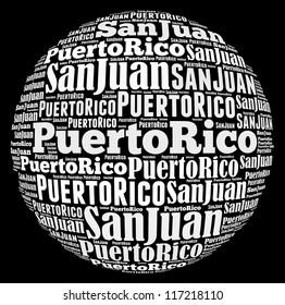 San Juan capital city of Puerto Rico info-text graphics and arrangement concept on black background (word cloud)