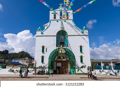 SAN JUAN CHAMULA, CHIAPAS, MEXICO - JUNE 23, 2018: The Temple of San Juan Chamula is beautifully decorated during the annual festival of Saint John the Baptist.