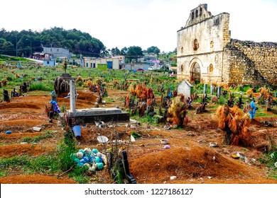 San Juan Chamula, Mexico - July 12, 2015: Ruined church & cemetery in indigenous town with unique autonomous status in Mexico near San Cristobal de las Casas, Chiapas.