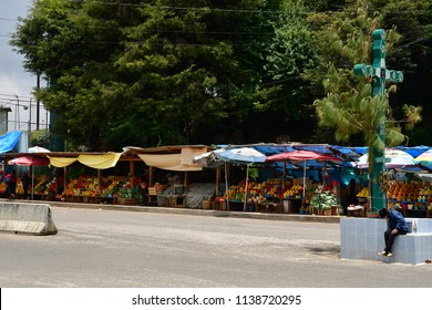 San Juan de Chamula; United Mexican States - may 15 2018 : the picturesque food market