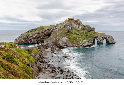 San Juan de Gazteluatxe Vizcay Spain. Ancient church/chapel on an island hill