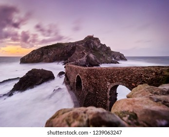 San Juan de Gaztelugatxe is church dedicated to John the Baptis connected to the mainland by a man-made bridge, Bermeo, Basque Country,Spain