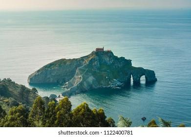 San juan de Gaztelugatxe peninsula observed from the viewpoint. Basque Country, Spain
