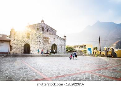 San Juan de Laguna, Guatemala - March 26 2018: Church of San Juan de Laguna at Lago Atitlan at sunset