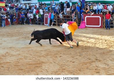 SAN JUAN, HUELVA, SPAIN - JUNE 22: Saint John's the Baptist's festival is the Spain's running of the Bulls of San Juan is the most popular celebration in Andalusia on June 22, 2013 in San Juan, Spain