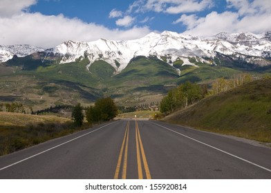 San Juan Mountains get their first snow storm of the season./Snow storm/ Telluride, CO is surrounded by fresh snow covered mountains, greeting all visitors and natives as they drive on highway #145.