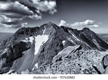 San Juan Mountains located near Telluride, Colorado Rocky Mountains.  Featured is Mt. Wilson & El Diente Peak taken from the summit of Gladstone Peak