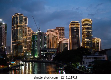 San Juan, Philippines - November 23, 2018: a view of Rockwell Center along Pasig River