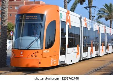 San Juan Playa, Alicante, Alicante Province, Comunidad Valencia, Spain. 3rd September 2015. Alicante tram (TRAM) on the narrow gauge track from Campello travelling towards San Jan Playa.