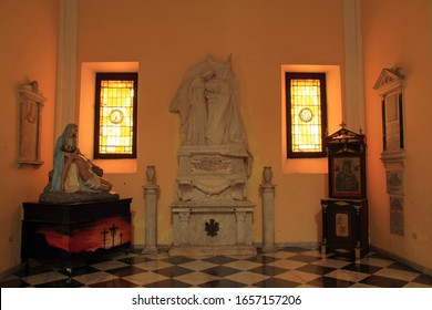 SAN JUAN, PR – OCTOBER 25: The San Juan Cathedral, which houses the tomb of Ponce de Leon, is one the most prominent landmarks located in Old San Juan October 25, 2019 in San Juan, Puerto Rico