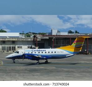 SAN JUAN, PUERTO RICO—MARCH 2017: An InterCaribbean aircraft waiting for passengers to the Caribbean Islands aat the Luis Muñoz Marín International Airport in Puerto Rico.