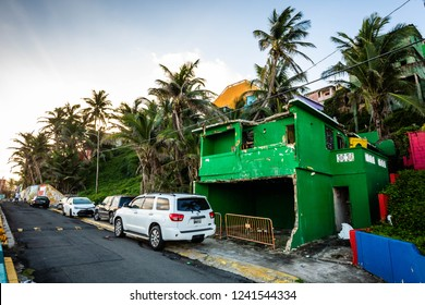 San Juan, Puerto Rico -11/21/2018 - Destroyed houses from hurricane Maria in Puerto Rico