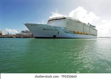 "San Juan, Puerto Rico - 12 28 2016: The ""Harmony of the Seas"" Cruise Ship in the Port of San Juan, Puerto Rico"