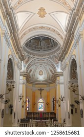 SAN JUAN, PUERTO RICO –AUGUST 4, 2018: Interior of landmark Metropolitan Cathedral Basilica of Saint John the Baptist, the second oldest cathedral in the Americas.