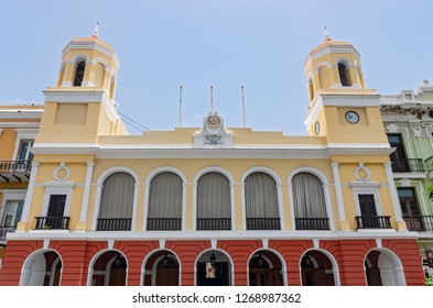 SAN JUAN, PUERTO RICO –AUGUST 4, 2018:  San Juan City Hall is located in the middle of Old San Juan in the capital city of Puerto Rico. It is the seat of the Mayor of San Juan, Puerto Rico.