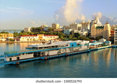 San Juan, Puerto Rico - August 20th 2019: Morning view of the port of San Juan, which is also the capital city of Puerto Rico. Photo taken from a newly arrived cruise ship docked in port.