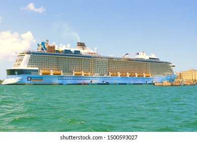 San Juan, Puerto Rico - August 20th 2019: The Royal Caribbean Anthem Of The Seas  Cruise Ship docked in San Juan port, Puerto Rico.