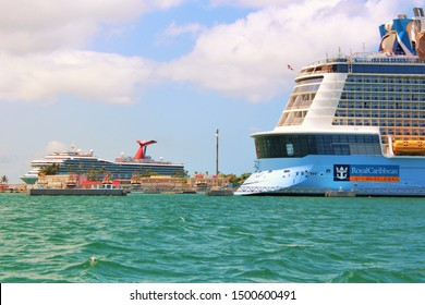 San Juan, Puerto Rico - August 20th 2019: The Royal Caribbean Anthem Of The Seas and Carnival Conquest Cruise Ships, docked in port in San Juan, the capital city of Puerto Rico.
