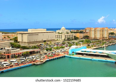 San Juan, Puerto Rico - August 20th 2019: View of San Juan, the capital city of Puerto Rico, taken from the top of a cruise ship docked in port.