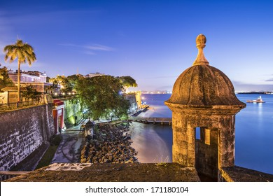 San Juan, Puerto Rico coast at Paseo de la Princesa.