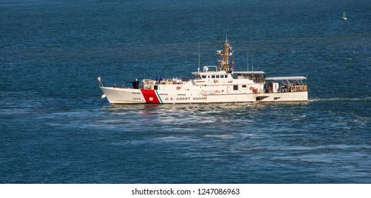 San Juan, Puerto Rico - December 2, 2018: US coast guard boat is navigating near the port of San Juan.