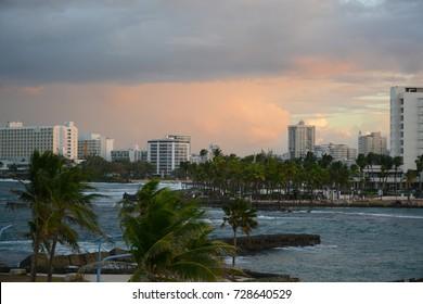 SAN JUAN, PUERTO RICO - DECEMBER 1, 2016: View to San Juan from Condado beach during sunset