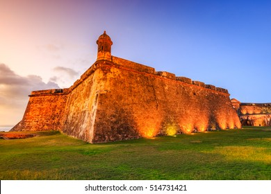 San Juan, Puerto Rico. Fort San Felipe del Morro or Morro Castle at twilight.
