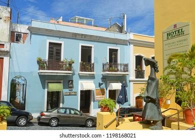 SAN JUAN, PUERTO RICO - JUN. 7, 2014: Historic building on Calle de Cristo at Hotel El Convento in Old San Juan, Puerto Rico.