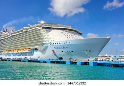 SAN JUAN, PUERTO RICO - MARCH 28, 2019: Cruise ship Royal Caribbean Allure of the Seas docked at port San Juan. The tourist region is a popular Caribbean cruise destination