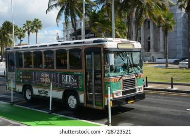 SAN JUAN . PUERTO RICO - NOVEMBER 30, 2016: The bus in Old San Juan
