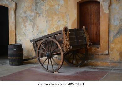 San Juan, Puerto Rico - November 30, 2016: Wooden wagon in Castillo San Felipe del Morro