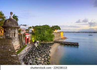 San Juan, Puerto Rico old city view over Paseo de la Princesa.