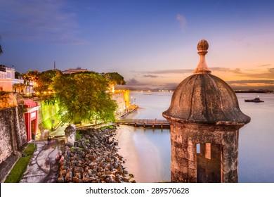 San Juan, Puerto Rico old city wall on the Caribbean Sea.