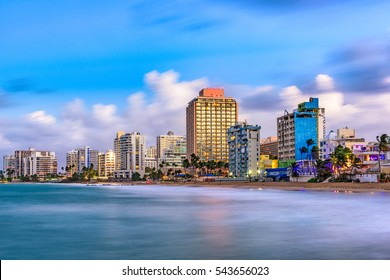 San Juan, Puerto Rico resort skyline on Condado Beach.
