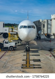 San Juan, Puerto Rico - September 7, 2019: Condor's Boeing 767 being serviced At San Juan Airport