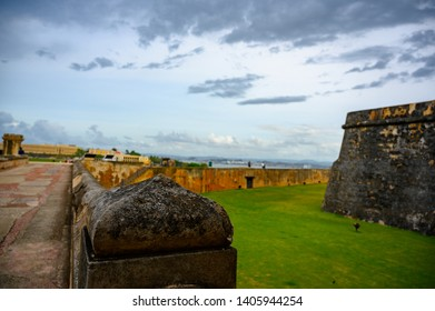 San Juan, Puerto Rico, USA - 5/2019: Moat and fortifications of Castillo San Felipe del Morro San Juan