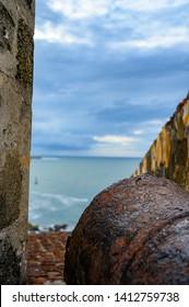 San Juan, Puerto Rico, USA - 5/2019: Fortifications of Castillo San Felipe del Morro San Juan