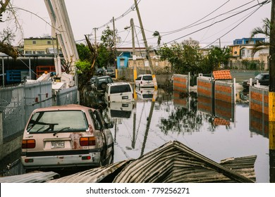 San Juan, Puerto Rico/USA - November 9, 2017: Streets in the Ocean Park sector of San Juan remain flooded weeks after Hurricane María utterly devastated the entire island of Puerto Rico.