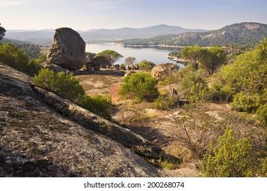 San Juan reservoir from Yelmo viewpoint. San Martin de Valdeiglesias. Madrid. Spain. Europe.