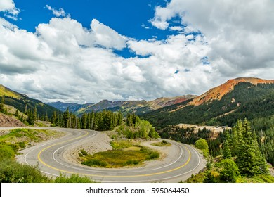 The San Juan Skyway forms a 233 mile loop in southwest Colorado traversing the heart of the San Juan Mountains featuring breathtaking mountain views.