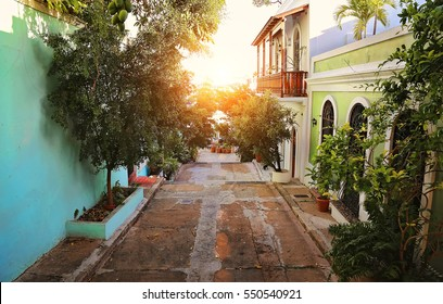 San Juan streets on a bright sunset