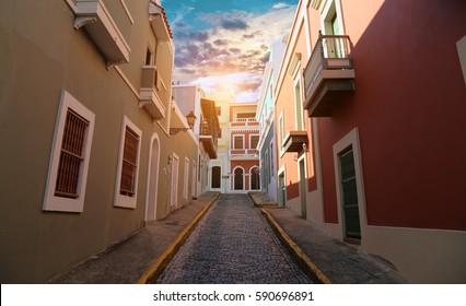 San Juan streets on an early sunset