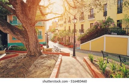 San Juan streets on a sunset