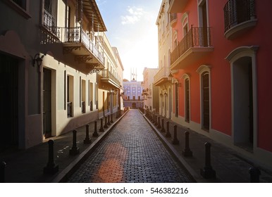 San Juan streets on a sunset