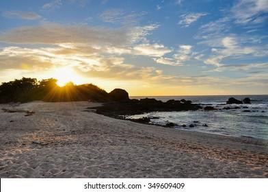 San Juanillo beach on both sides, Nicoya Peninsula, Costa Rica.